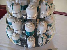 Teal & Ivory Mini Cakes