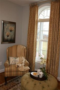 Casual Elegance Complete With Custom Window Treatments And Tufted Ottoman    By Stefani Arnold At Belfort