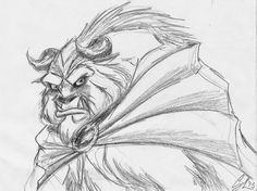 "Concept art for the Beast by Glen Keane from Disney's ""Beast & the Beast"" (1991)."
