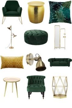 View the Luxe Green and Gold Living Room Inspiration Board by Furnishful for gre. - View the Luxe Green and Gold Living Room Inspiration Board by Furnishful for great Living Room Idea - Living Room Green, Home Living Room, Apartment Living, Living Room Furniture, Living Room Designs, Rustic Furniture, Cheap Furniture, Furniture Sets, Dark Furniture
