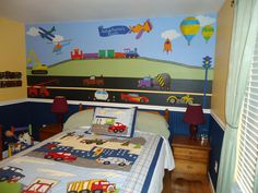 Transportation Wall Stickers Decals - Cars, Trucks, Trains- Wall Decals for Boys Room Wall Mural - Personalized  - FREE SHIPPING (USA). $129.99, via Etsy.