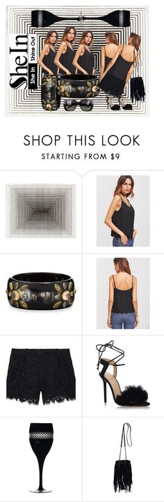 """""""Black Cami Top with SheIn"""" by vh22designs ❤ liked on Polyvore featuring Ashley Pittman, Rachel Zoe, Charlotte Olympia, Waterford, Yves Saint Laurent and Bottega Veneta"""