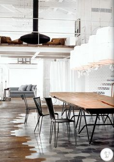Amazing tile to wood floor transition in this loft interior. Outstanding! The fireplace, the table. the light.