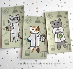 Science Cat Magnet Trio