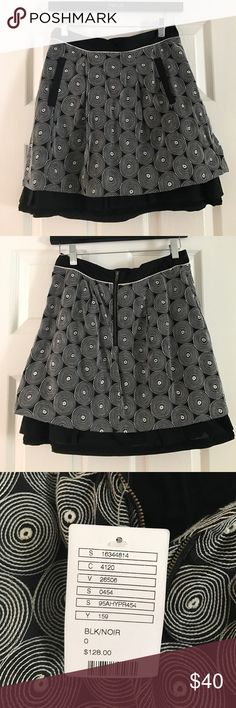 🌟REDUCED🌟 Anthropologie mini skirt by Floreat Cute mini with pockets and exposed zipper. NWT. Black with white embroidered circles. Can be dressed up or down. Anthropologie Skirts Mini