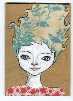 Julie  Original ACEO drawing painting mixed media by carambatack