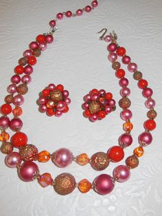 Vintage Red, Pink, and Gold 2 Strand Necklace and Clip Earring Set on Etsy, $12.00