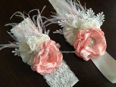 Peach & Ivory Baptism Headband, Sash, and Sandals