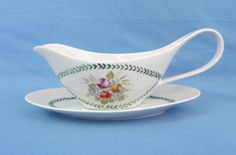 Vintage Saller Transferware Gravy Boat & Saucer Set Porcelain #Saller