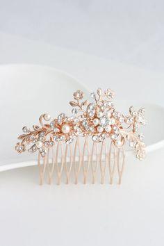 Flower Wedding Comb Rose Gold Bridal Hair by LuluSplendor on Etsy