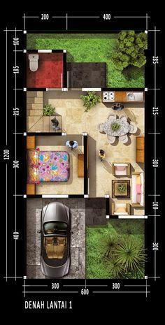 Denah rumah dua lantai dengan luas lahan 148m2 Luas total bangunan 70m2 Ukuran tanah 6m x 12m Luas Lahan 72 meter2 Area terbangun Luas 40 m2 Desain minimalis Desain rumah kita kali ini memiliki satu pintu utama sebagai akses masuk dan satu pintu untuk mengakses taman di belakang rumah. di lantai satu bangunan terdapat sebuah kamar tifur, ruang tamu, dapur, ruang multi dan kamar mandi. Daerah di belakng rumah masih terdapat area kosong yang di gunakan sebagai taman yang cukup luas. Des...