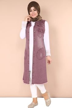 Front Buttoned Pointed Collar Jeans Vest Pants Product code: -> TL Source by modasel Kids Abaya, Blazer Vest, Hijab Fashion Inspiration, Muslim Dress, Jean Vest, Muslim Fashion, Business Outfits, Coat Dress, Denim Fashion