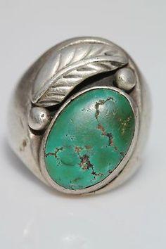 Vintage Southwestern Tribal Sterling Silver Turquoise Men's Ring | eBay