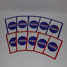 Vintage paper ephemera lot 10 NASA playing cards colorful red blue altered art scrap projects cartoon character