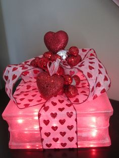 Valentines Day Lighted Glass Block night by MagicalBlocksbyK Valentines Day Decorations, Valentine Day Crafts, Valentine Ideas, Valentine Special, Be My Valentine, Glass Block Crafts, Lighted Glass Blocks, Wine Bottle Crafts, Valentine's Day Diy