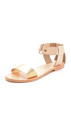 Sol Sana Erika Flat Sandals with Metallic Band