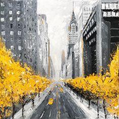 New York Painting / Original Art City Landscape, Abstract Landscape, Landscape Paintings, Oil Paintings, New York Painting, City Painting, Abstract Canvas, Acrylic Painting Canvas, Canvas Art