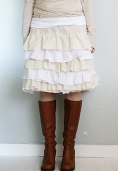 Gorgeous ruffly petticoat skirt tutorial... Nice way to recycle the baby wrap muslin I didn't use?