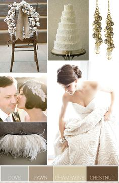 ❁pinterℓee - dove gray, fawn brown, champagne & chestnut brown I LOVE this color pallet for a winter wedding