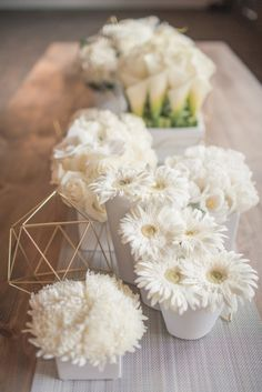 White spring flowers: http://www.stylemepretty.com/2015/03/25/modern-geometric-wedding-inspiration/ | Photography: MGB - http://www.malloryberry.com/