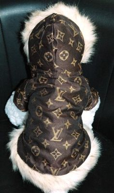 LV Inspired Brown Fur Trimmed Fleece Coat