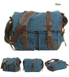 Blue Canvas Leather Camera Bag Leisure Shoulder Bag Messenger Bag DSLR Camera Bag ********************************************** We use selected thick cotton waxed canvas, quality hardware and Laptop Messenger Bags, Canvas Messenger Bag, Leather Camera Bag, Leather Crossbody Bag, Clutch Bag, Crossbody Bags, Camera Aesthetic, Dslr Camera Bag, Camera Gear