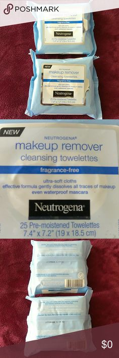 Free with $20 purchase Get these 2pks of Neutrogena make up remover pre moistened cleansing cloths free when a $20offer is made on any items in closet ,new unopened Neutrogena Makeup