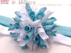 Icy Blue Silver Sparkle SnowFlakes Boutique Baby Girl Korker Hair Bow Shimmery Elastic Headband