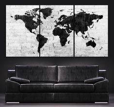 World Map Canvas Print - Contemporary 3 Panel Triptych Black and White Large Wall Art World Map Canvas, World Map Wall Art, Art World, Map Art, Large Canvas Wall Art, Extra Large Wall Art, Canvas Prints, Black And White Interior, White Interior Design