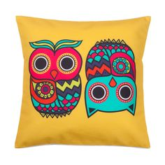 Buy Chumbak Owls Yellow Cushion Cover Online - Chumbak