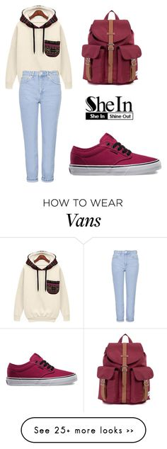 """SHEINSIDE Sweatshirt"" by tania-alves on Polyvore featuring Vans, Topshop and Herschel"