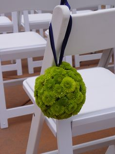 Ceremony Chair Pomanders @ Paradise Ridge Winery Wedding  Green button mums. Flowers and photo by The Wild Orchid floral design in Sebastopol.