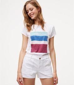 Image of Denim Utility Shorts in White
