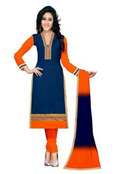 Cotton+Lace+Work+Blue+Plain+Semi+Stitched+Churidar+Suit+-+Y1 at Rs 799