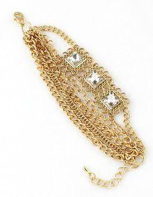Gold Gemstone Multilayers Link Bracelet