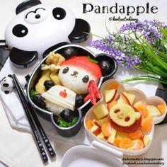 kawaii〜♡ - - Sanrio Pandapple by Karenwee's Bento Diary Japanese Food Art, Japanese Lunch Box, Kawaii Bento, Cute Bento, Bento Recipes, Bento Ideas, Bento Box Lunch, Bento Food, Sushi Art