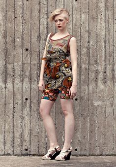 """Scoop"" tank in silk chiffon, wax cloth high waisted skirt, bike shorts by I heart Norwegian Wood, via Flickr"
