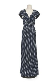 Long Dress, attributed to Madeleine Vionnet, France: ca. 1930-1935, printed cotton.    NOTE: Blue or Black????