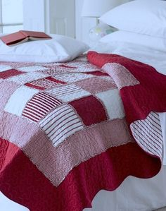 Red gingham boys bedroom quilt.  I really like this simple pattern.