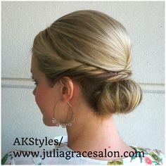 Bridal style, bridesmaid hair, wedding hair, classic bun
