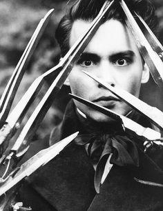 Johnny Depp as Edward Scissorhands #EdwardScissorhands #JohhnyDepp #SilverScreen #TimBurton #film #movies #blackandwhite