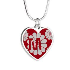 Custom Art Deco Style Red Gray Floral Pattern Necklace, editable monogram, personalized gift.