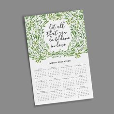 11x17 Wall Calendar - Green Leaves