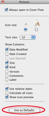 You can specify a default Finder view to be used when a folder has no specified preferred view.