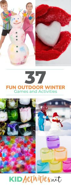 37 Fun Outdoor Winter Games and Activities for Kids – Kid Activities A collect of 37 outdoor winter games and activities for kids. These activity ideas are great for the playground or at home. Bundles the kids up and let them play. Outdoor Games For Toddlers, Winter Activities For Toddlers, Physical Activities For Kids, Winter Outdoor Activities, Snow Activities, Classroom Activities, Indoor Activities, Winter Games, Winter Kids