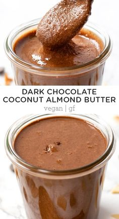 This amazing coconut almond butter is a healthier twist on nutella. It only uses 5 ingredients, is easy to make and has a rich dark chocolate flavor. Easy homemade recipe - great for toast, smoothies, desserts or a snack! Coconut Butter Recipes, Homemade Almond Butter, Chocolate Coconut Butter Recipe, Almond Butter Snacks, Almond Recipes, Peanut Butter, Nutella, Healthiest Nut Butter, Keto