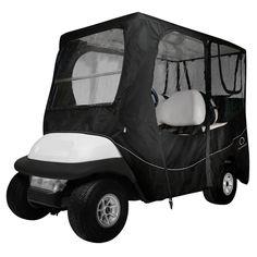 Classic Fairway Golf Cart Deluxe Enclosure Long Roof - Black