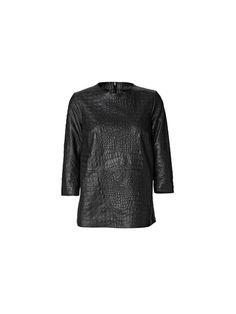 Ellasara Croco-Embossed Leather Top