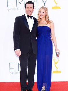 'Mad Men' actor Jon Hamm, in a black Giorgio Armani tuxedo, and his long-time girlfriend Jennifer Westfeldt, in a cobalt blue J.Mendel evening gown, looked gorgeous on the red carpet at the 64th Emmy Awards .