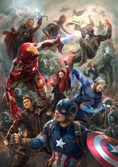 Age of Ultroncrowner avengers marvel hero superhero ironman captainamerica thor blackwidow hulk hawkeye scarletwitch spiderman blackpanther bucky drstrange thanos fanart painting The Avengers, Fan Art Avengers, Avengers Poster, Marvel Avengers Assemble, Marvel Fan Art, Marvel Dc Comics, Marvel Heroes, Ultron Marvel, Marvel Universe